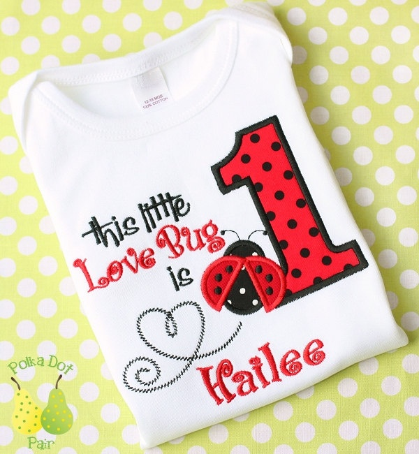 3988cbd22 LADY Love BUG LADYBUG 1st First Birthday personalized Custom monogrammed  infant short sleeve baby onesie child's T-Shirt appliqu… | pregnancy &  babies.