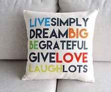 Life Quote Dream Big Laugh Love Positive Linen Cushion Cover Throw Pillow Case