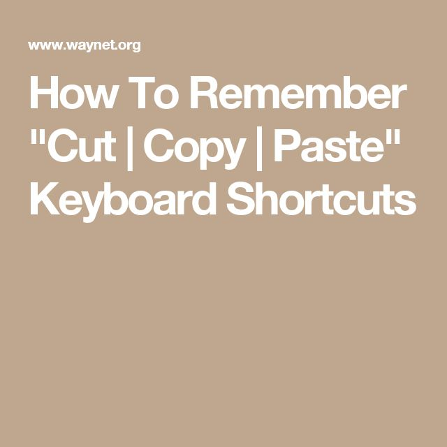 """How To Remember """"Cut 