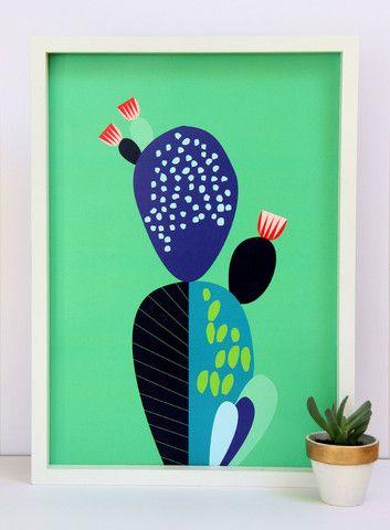 Green Cactus Print - A3