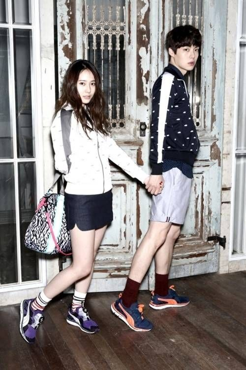 f(x)'s Krystal and model Ahn Jae Hyun got comfortable with each other as a cute campus couple for sportswear brand 'Puma'!