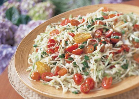 Cabbage and Tomato Slaw with Sherry-Mustard Vinaigrette. I added ...