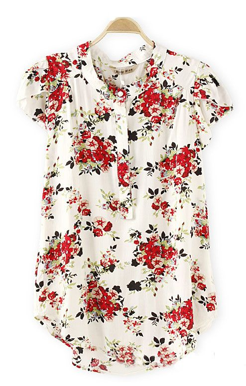 Short Sleeves Casual Sweet Floral Print Blouse