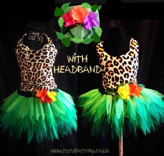 Childrens Katy Perry Roar Costume Jungle Tutu Green Forest Fairy Tutu Spikey Leaves Kids Tutu With Flower Headband