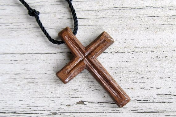 Necklaces for Men  Rustic Hand Carved Cross by The Lotus Shop, $12.95