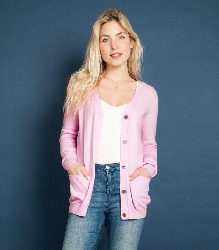Womens Cashmere and Cotton V Neck Cardigan Caribbean Pink / Style Code: C68L #cashmere #cotton