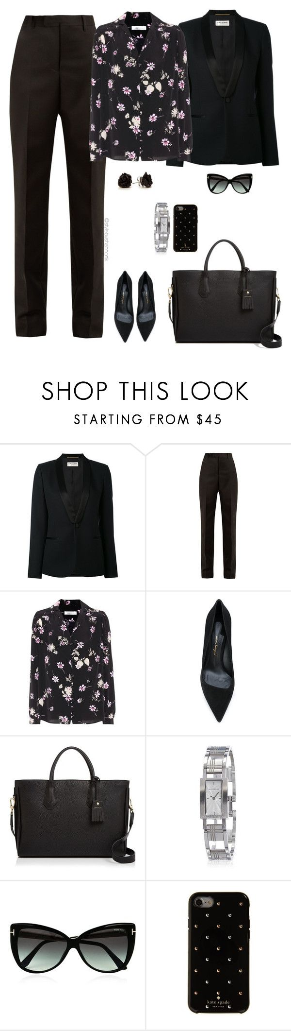 """work wear"" by stylebyshannonk ❤ liked on Polyvore featuring Yves Saint Laurent, Maison Margiela, Valentino, Salvatore Ferragamo, Longchamp, Burberry, Tom Ford and Kate Spade"