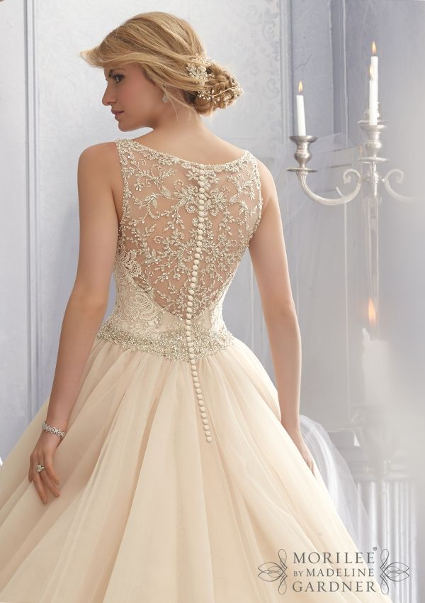 Bridal Gown From Mori Lee By Madeline Gardner Dress Style 2684 Crystal Beaded Embroidery Trims Venice Lace on this Tulle Wedding Gown