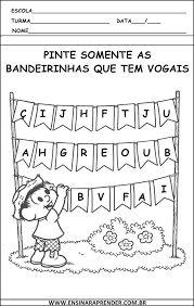 Resultado de imagem para atividades para educação infantil vogais