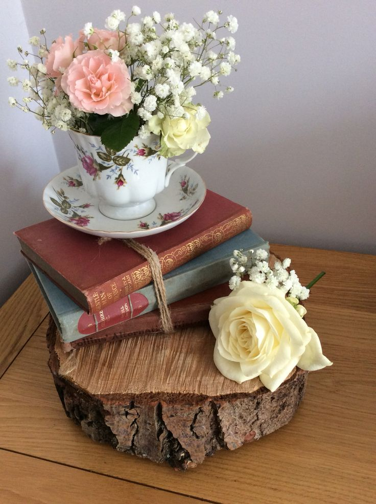 Vintage wedding rustic centrepiece hire , based in Cambridgeshire ...tree slice…