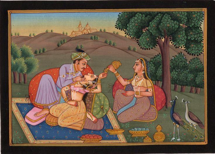 Mughal Miniature Painting Exotic Outdoor Harem Handmade Moghul Watercolor Art