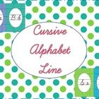 This is a cursive alphabet line with a blue and green polka dot theme.  Included in this file is one cursive alphabet line. Each letter of the alph...