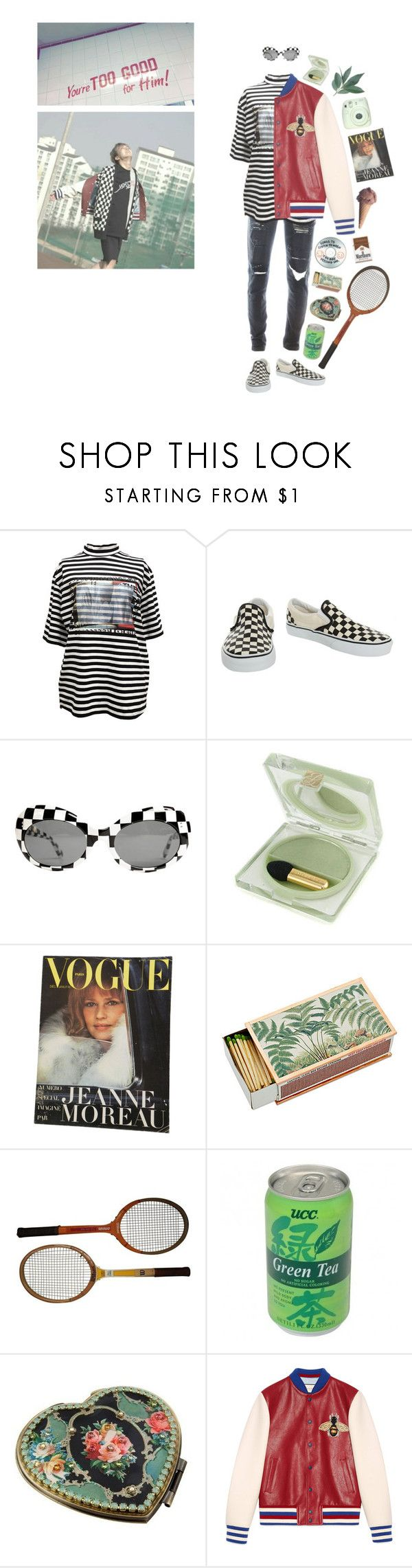 """""""tennis courts"""" by ghostkid ❤ liked on Polyvore featuring M.Y.O.B., Vans, Estée Lauder, Dot & Bo, Sharpie, Michal Negrin, Gucci and vintage"""