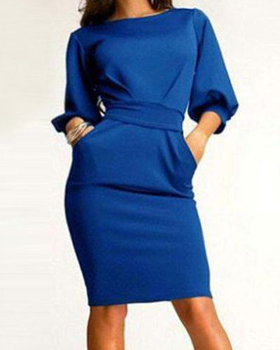 Simple Round Neck 3/4 Sleeve Solid Color Pocket Design Dress For Women