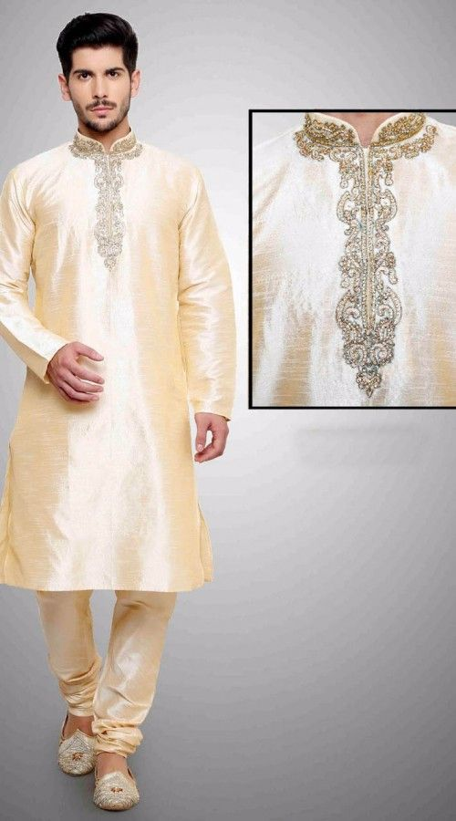 Superb Cream Art Dupian Silk Neck Embroidered Kurta Payjama  DTKP1851  Fashionable cream art dupian silk kurta payjama which is ornamented with machine and hand embroidery work. Stole and mojari can be purchased additionally. They are not a part of this kurta payjama. Any biggest size possible. Extra charges will be charged for size 44 to 50