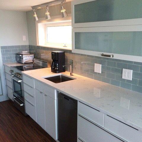 Cute kitchenette backsplash is our lush fog bank grey glass subway tile on sale through 12 31 - Bank kitchenette ...