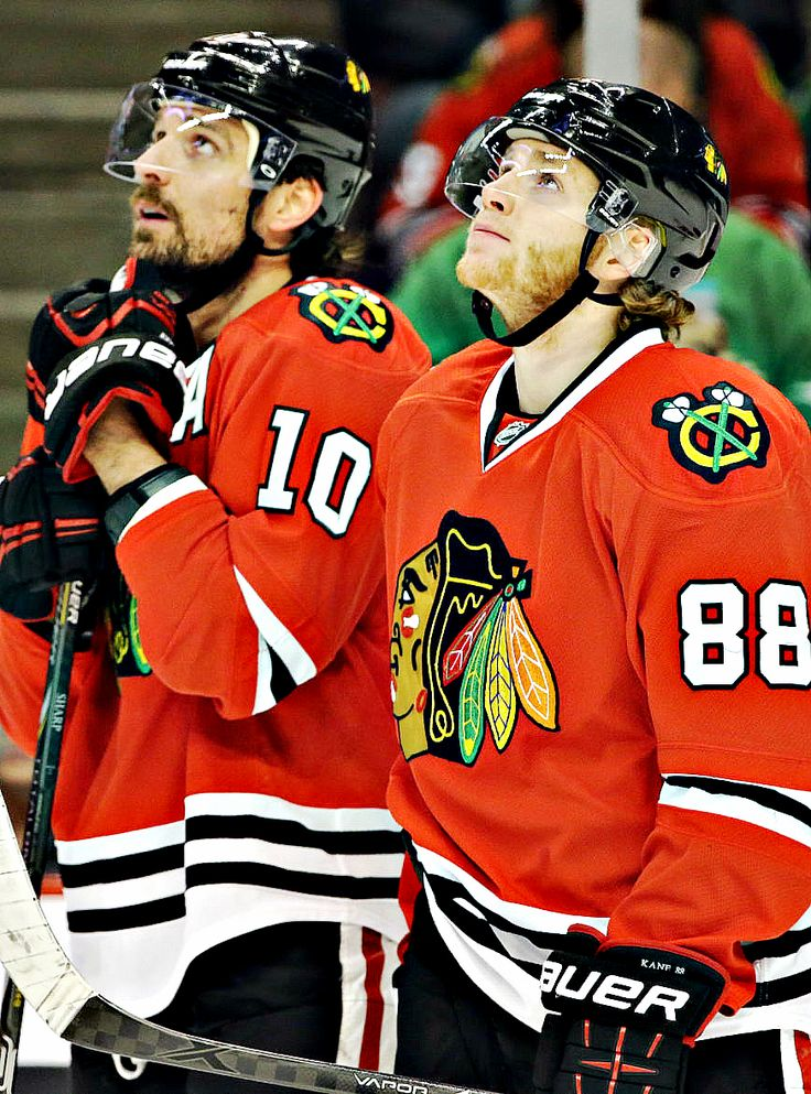 Patrick Sharp & Patrick Kane • Chicago Blackhawks • Source: wintermonthnovelty.tumblr.com