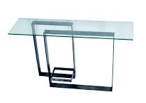 Aurea: Consolle con struttura in ferro ossidato, piano in vetro.  dimensioni  L 140 cm  P 40 cm  H 81 cm  struttura: ferro ossidato  piano: vetro 12 mm