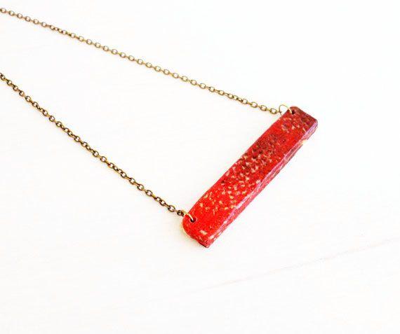 Istruzione in legno rosso decoupage a mano gioielli collana, moderno minimalista, regalo per lei, carta, gioielli, legno naturale, ottone anticato