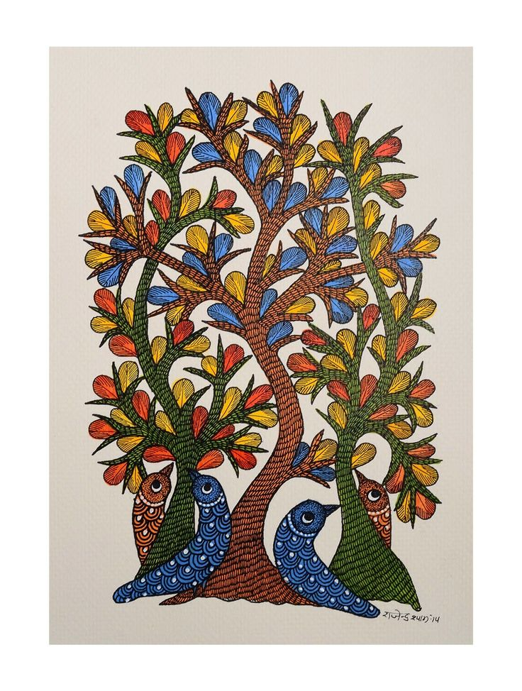 Buy Multi Color Tree Bird Gondh Painting By Rajendra Shyam 10in x 7in Paper Acrylic Permanent Ink Art Decorative Folk of Good Fortune Tribal Gond from Madhya Pradesh Online at Jaypore.com