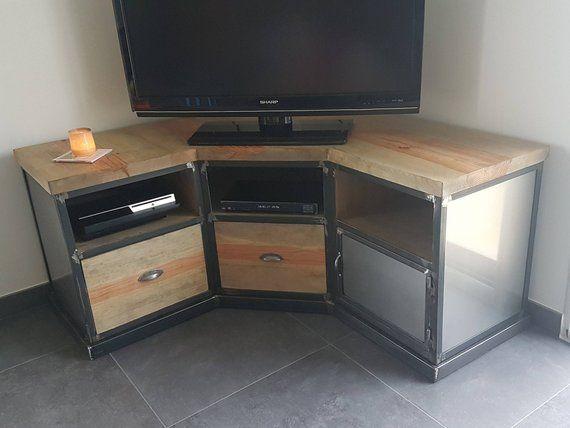 Corner Tv Furniture Industrial Steel And Solid Aged Pine Tv Furniture Furniture Corner Tv