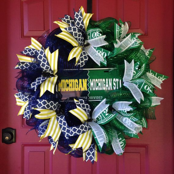 House Divided Wreath MSU vs U of M Wreath by BayWreathDesigns