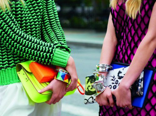 neon: Colour, Sweaters, Harpers Bazaar, Clutches, Street Style, Fashion Inspiration, Tommy Ton, Bright Colors, Colors Fashion