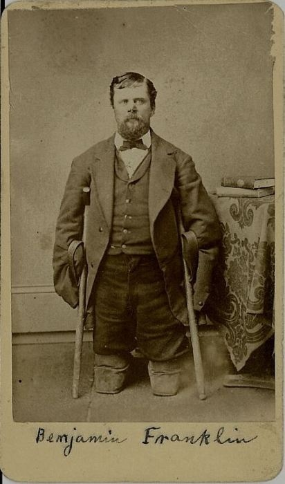 Civil War Veteran - Pvt. Benjamin Franklin (c 1832 - Oct. 23, 1899), Co. H, 2nd Reg., MN Cavalry. During winter of 1865, 4 men were sent to Fort Ridgley, they were caught in a blizzard, all froze to death except Ben. After 8 days, he was found by a band of Indians who took him to the Fort, the Surgeon refused to do anything for him saying he would die but he didn't. He lost his limbs and part of his nose. He was the only Soldier of the Civil War to be Mustered out without arms or legs.