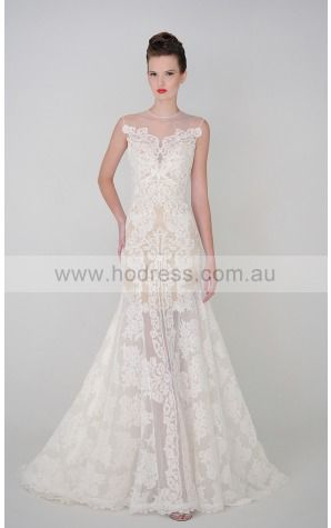 Zipper Floor-length A-line Natural Jewel Wedding Dresses hacf1001--Hodress