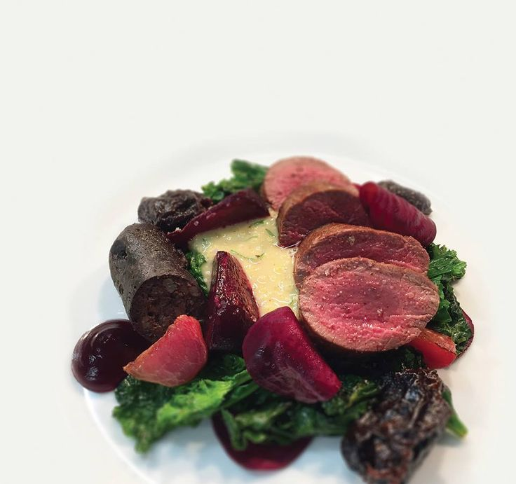 """Why not try Emily Watkins' Venison loin and black pudding #recipe  for a festive pick me up? Download our app and get the recipe for free! Click """"Visit"""" to proceed. #recipeoftheday #christmas #charity #food"""