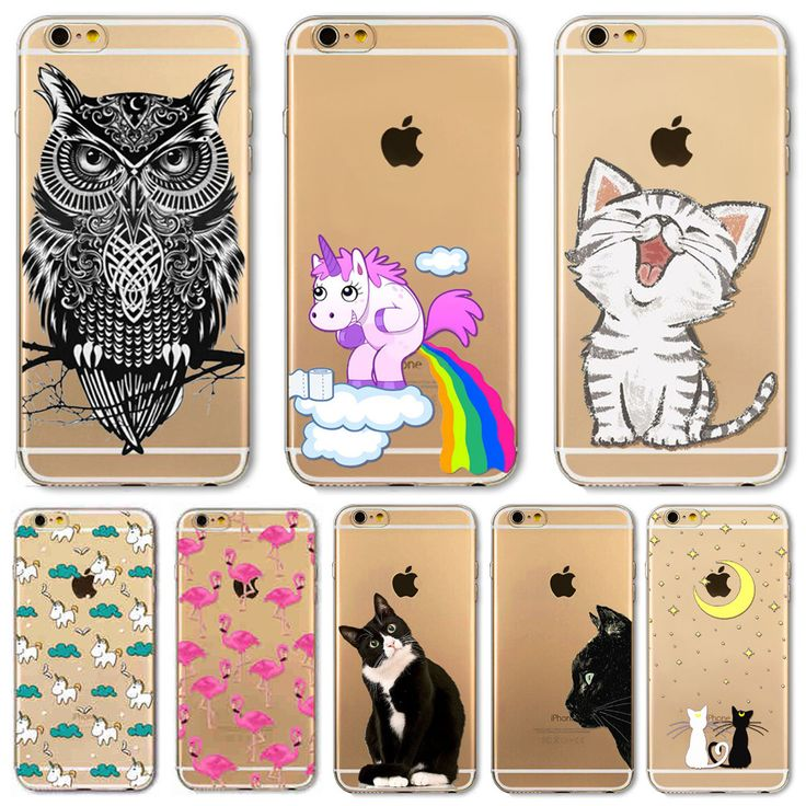 For Apple iPhone 6 6s Plus 4 4S 5 5S SE 5C 6Plus Case Soft TPU Silicon Transparent Thin Cover Black Cat Owl Rabbit Animal Case