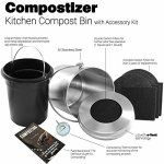 Introducing Compostizer Stainless Steel 1.3 Gal Kitchen Compost Bin Kit, Unique Inner Bucket, Special e-Vent Technology, Double Carbon Filters, Paperback Book, Composting Thermometer,4 Double Filters – BestSeller Products Reviewers