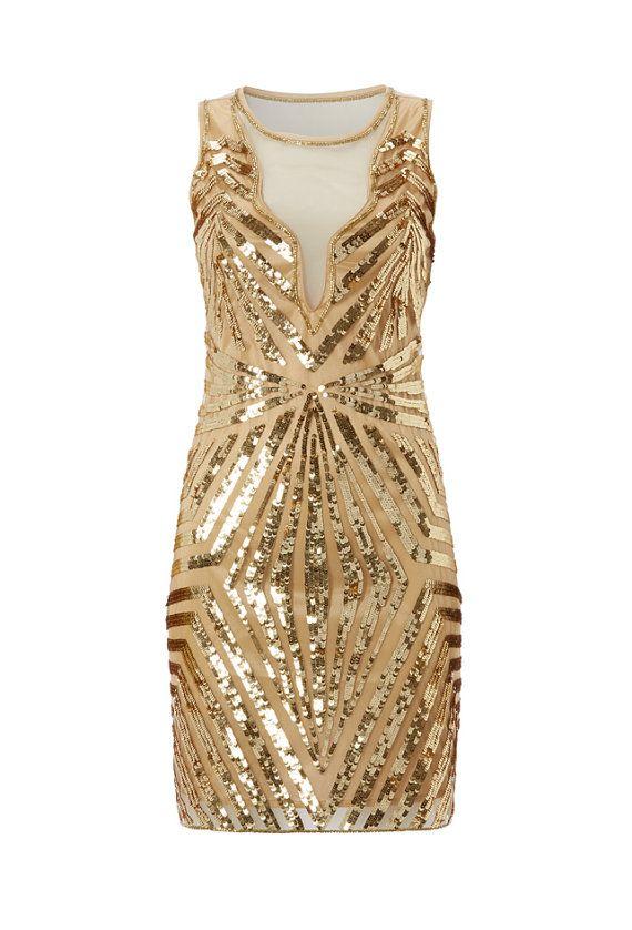 Uk10 Us6 Gold Vintage Inspired 1920s Vibe Flapper Great Gatsby Beaded Robe Charleston Sequin Art