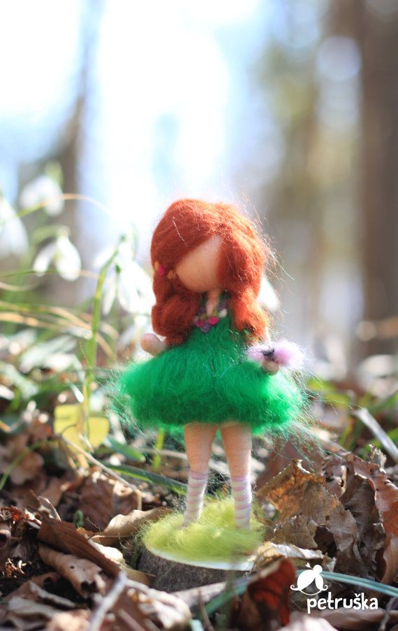 wool felted waldorf inspired fairy in a blue by PETRUSKAfairyworld