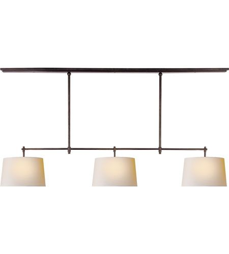 Visual Comfort Thomas OBrien Bryant 3 Light Linear Pendant in Bronze with Wax TOB5005BZ-NP