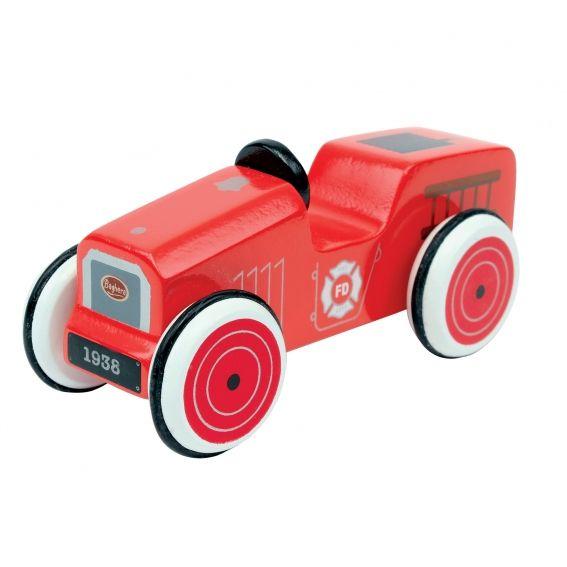 Voiture en bois Baghera Camion de Pompier.   Les petites voitures en bois de Baghera. Celle-ci reprend le look des camions de pompier d'antan. Avec son châssis et ses roues en bois, des pneus en caoutchouc noir, les mini bolides seront des compagnons de jeu parfaits pour vos enfants. Collectionnez-les toutes !