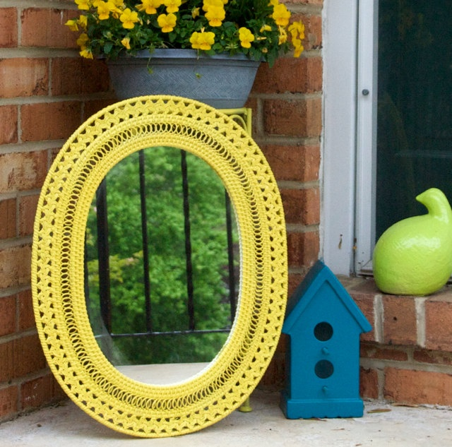 yellow wicker mirror