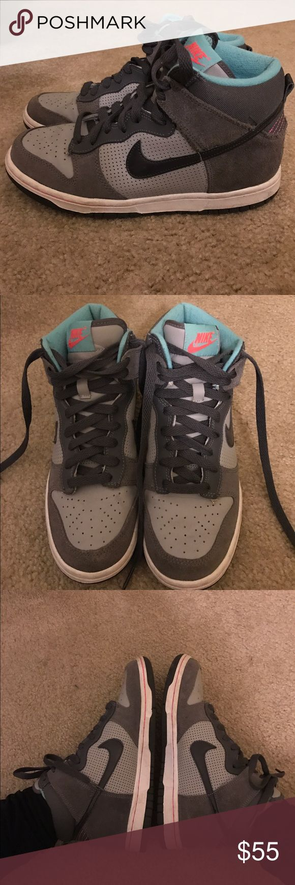 Women's Nike High Top Dunks Only worn a few times! So comfortable and the colors match anything. They are dark and light gray with a black swoosh and turquoise inside. Can fit a 7/7.5. Price negotiable! Nike Shoes Sneakers