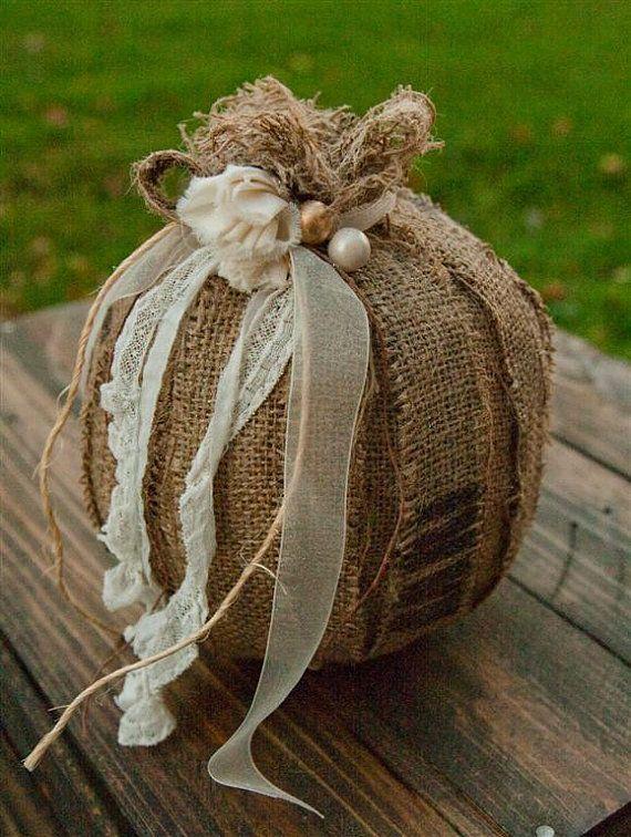 Autumn Decorating with Burlap   Romantic Coffee Sack Burlap Pumpkin Decor - Fall - Autumn - Small - N ...