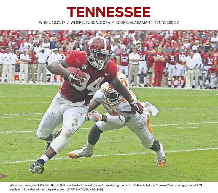 """Damien Harris vs Tennessee - recapping """"The 2017 National Championship Season"""" from the Tuscaloosa Magazine Vol 16 No 1 by Tuscaloosa News.   #Alabama #RollTide #Bama #BuiltByBama #RTR #CrimsonTide #RammerJammer #CFBPlayoff #NationalChampionship #CFBNationalChampionship2018 #TuscaloosaMagazine #TuscaloosaNews"""