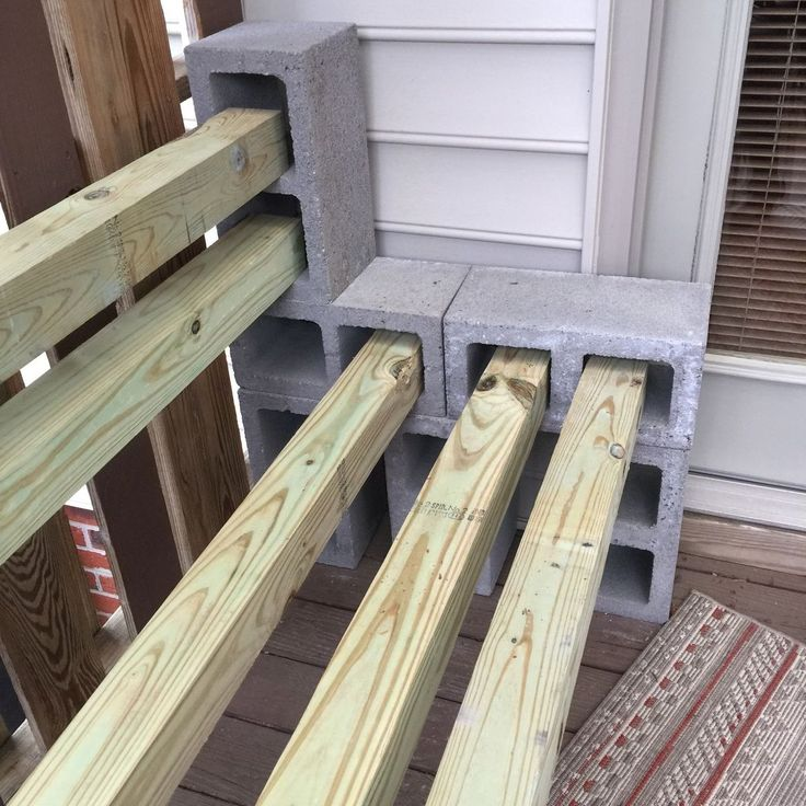 Out of necessity for deck furniture I made this garden bench. I started out with twelve cinder blocks. Six cinder blocks to make up each sid…