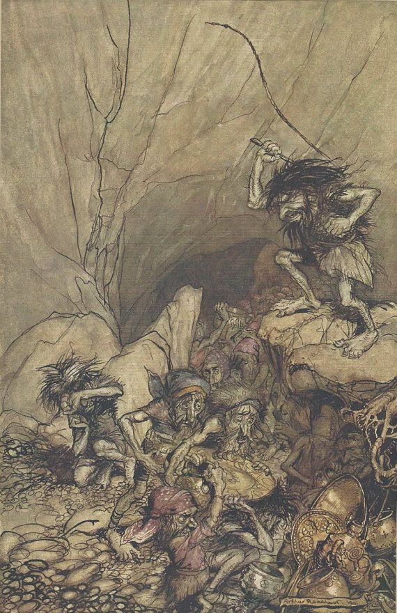 """""""Alberich drives in a band of Nibelungs laden with gold and silver treasure""""  Alberich is a dwarf, who guards the treasure of the Nibelungen, but is overcome by Siegfried.1910 Arthur Rackham"""