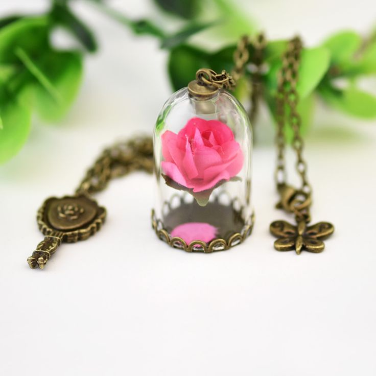 2 Pcs/Pack Retro Crystal Glass Vial Necklace Little Prince Rose Necklace Natural Dried Flowers Necklace Christmas Gifts