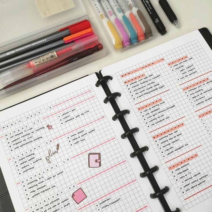 emmastudies pink 2017 simple bullet journal spread