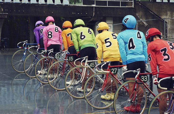 Jasper Clarke photographs the cyclists in training at Japan's Keirin racing academy