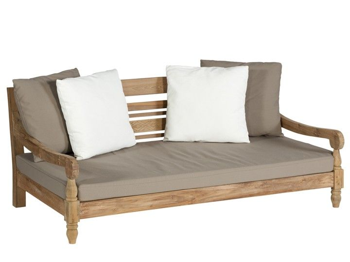 KAWAN Lounge Garten Outdoor Sofa Teak Recycled mit Kissen