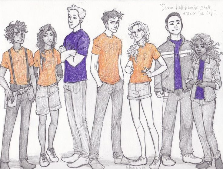 (From left to right) Leo Valdez, Piper Mclean, Jason Grace, Percy Jackson, Annabeth Chase, Frank Zhang, Hazel Levesque