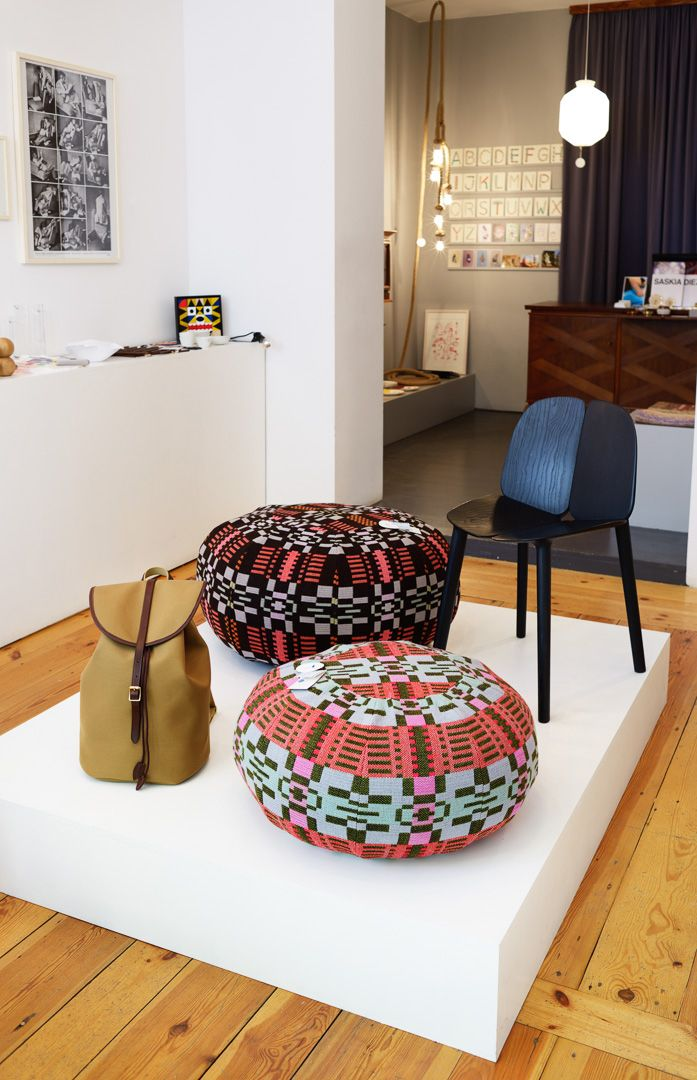 SCP poufs and Mattiazzi's OSSO chair at the SÜPER STORE