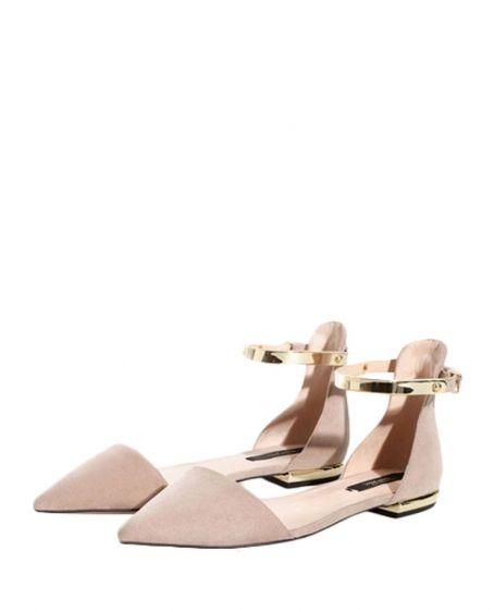 Metal-embellished Pointed-toe Flat Sandals
