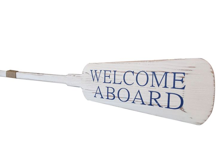 """36"""" Wooden Rustic Welcome Aboard Decorative Rowing Oar with Hooks Wall Décor"""